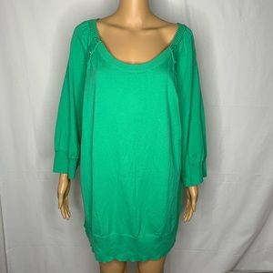 Lane Bryant Pullover Sweater Button Detail Green